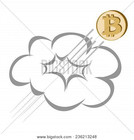 Bitcoin Coin Rises Through The Cloud On A White Background , Crypto Currency  Flies Upwards ,  Color