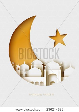 Ramadan Kareem 3d Abstract Paper Cut Illustration. Islamic Mosque, Moon, Sky, And Gold Sky. Greeting