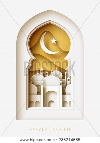 Ramadan Kareem 3d Abstract Paper Cut Illustration. Window With Islamic Mosque. Moon And Gold Sky. Gr