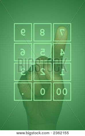 Touch Screen Number Keypad And Hand