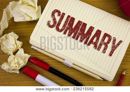 Conceptual Hand Writing Showing Summary. Business Photo Showcasing Brief Statement Abstract Synopsis