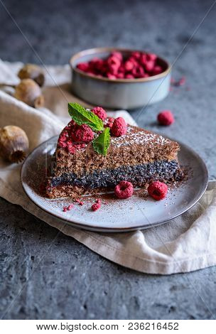 Cacao Sponge Cake With Poppy Seeds And Coconut Filling, Decorated With Freeze - Dried Raspberries