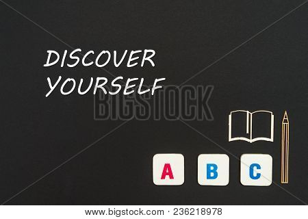 Concept English School, Text Discover Yourself, Abc Letters, Chipboard Miniature Book, Pen On Blackb