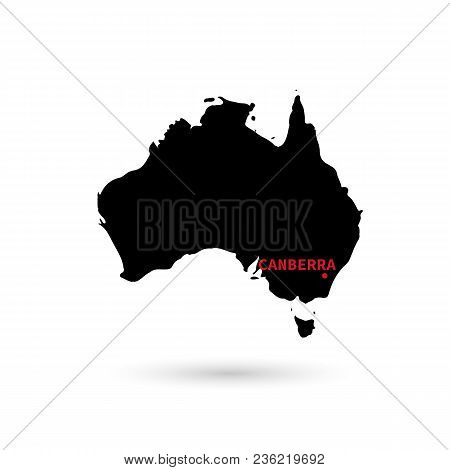 Map Of Australia With Capital Designation On White Background