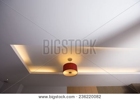 Room Ceiling, Ceiling With Red Light Bulbs Low Light