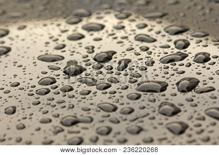 Golden Drops Of Rain Or Water Drop On The Hood Of The Car. Rain Drops On The Surface Of The Car Or O