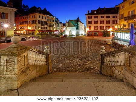 Canal And Facades Of Medieval Houses In The Old City. Annecy. France.