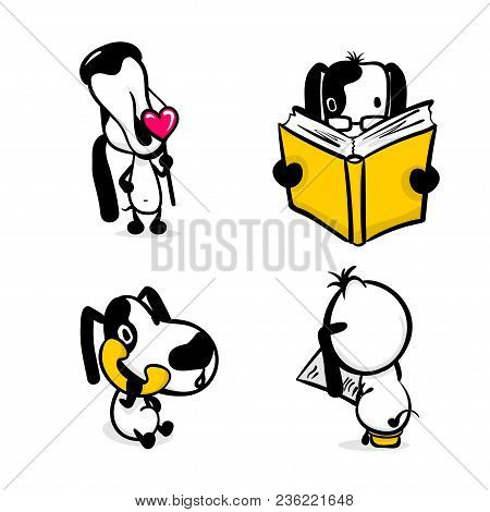 Cute Dog Reading Book Sticker Set. Monochrome Puppy Collection Design. Simple Black White Sketch Vec