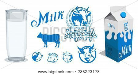 Set of different Milk product. Milk logo. Healthy drink. Lettering. Milk is a nutritious liquid. Ecologically pure natural cow milk and dairy products. poster
