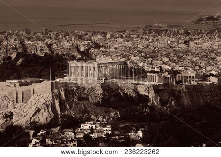 Athens skyline viewed from Mt Lykavitos with Acropolis, Greece.