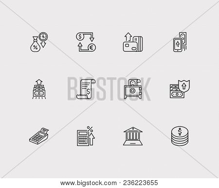 Banking Icons Set. Credit Card And Banking Icons With Mobile Payment, Deposit And Tax Calculator. Se