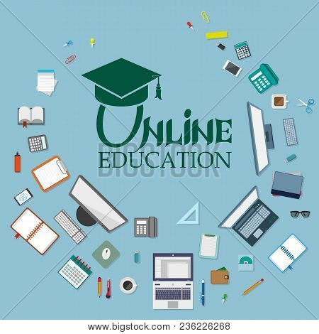 Set Of Different Web Elements. Online Education. Concept Icons For Web And Mobile Services. Educatio