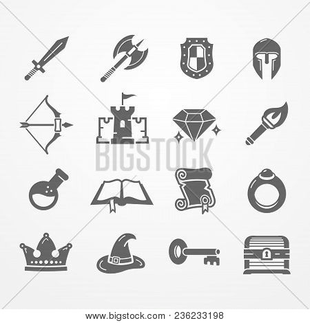 Set Of Fantasy Role Play Pc Game Icons In Silhouette Style. Sword Battle Axe Shield Warrior Helmet B