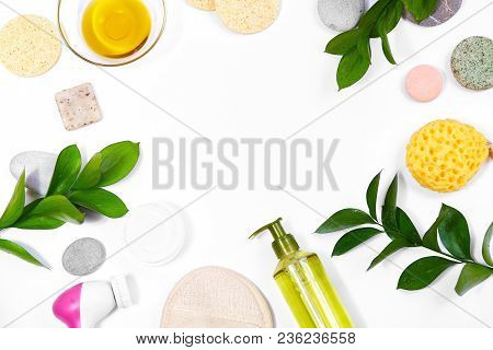 Spa Background With Bath Accessories, Face And Body Care. Set For Personal Care. Clean Skin With Bru