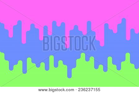 Multicolor Dripping Paint. Drips Of Paint On A Green Background. Bright Backdrop. Vector Illustratio
