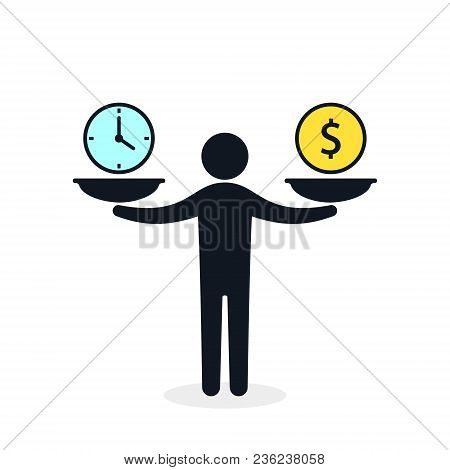 Time And Money On Scales Icon. Man Balances Money And Time Concept. Weights With Clock And Money. Ve