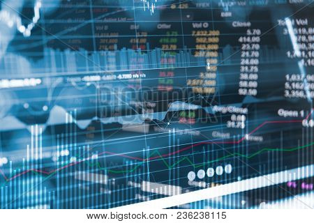 Business Financial Concept With Double Exposure Of Candle Stick Graph Chart Of Stock Market Investme