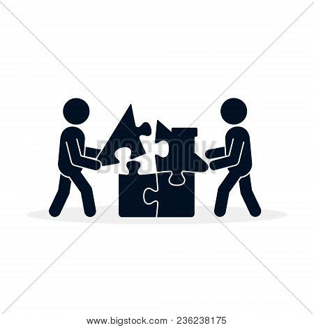House Puzzle Icon, Vector. Men Complete Puzzle Parts Of House, Business Building Concept Illustratio