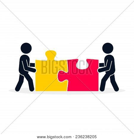 Businessmen Connecting Puzzle Elements. Business Concept. Teamwork Metaphor. Vector Illustration Fla