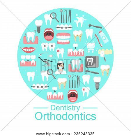 Dentistry And Orthodontics Banner With Flat Icons Of Denture Dental Hygiene Implant Roentgen Oral Ca