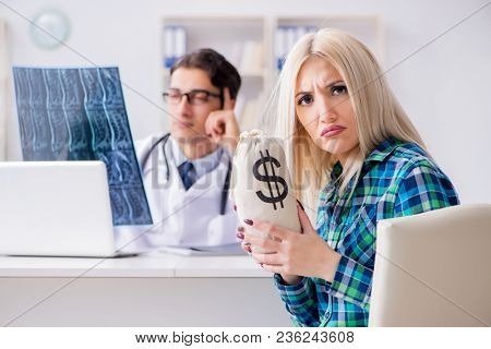 Concept of expensive healthcare with woman visiting male doctor