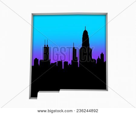 New Mexico NM Skyline City Metropolitan Area Nightlife 3d Illustration