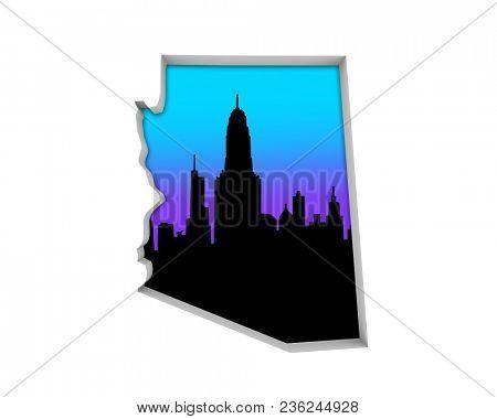 Arizona AZ Skyline City Metropolitan Area Nightlife 3d Illustration