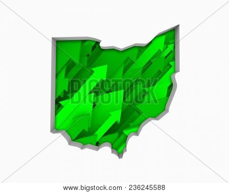 Ohio OH Arrows Map Growth Increase On Rise 3d Illustration