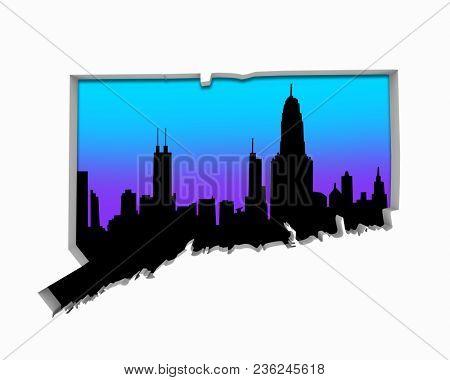 Connecticut CT Skyline City Metropolitan Area Nightlife 3d Illustration