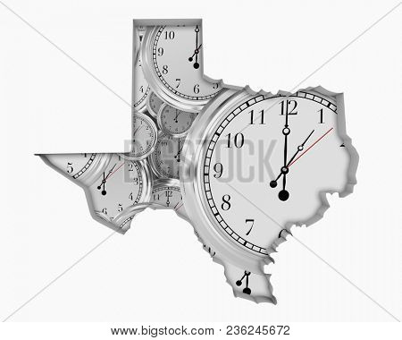 Texas TX Clock Time Passing Forward Future 3d Illustration