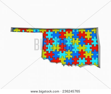 Oklahoma OK Puzzle Pieces Map Working Together 3d Illustration