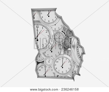Georgia GA Clock Time Passing Forward Future 3d Illustration