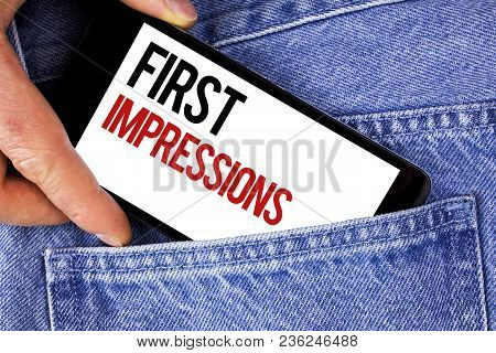 Text Sign Showing First Impressions. Conceptual Photo Encounter Presentation Performance Job Intervi