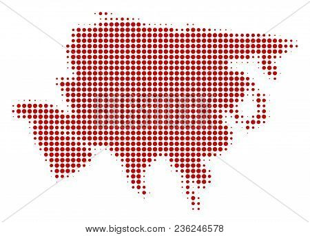 Asia Map Halftone Vector Icon. Illustration Style Is Dotted Iconic Asia Map Icon Symbol On A White B