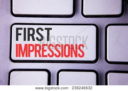 Handwriting Text First Impressions. Concept Meaning Encounter Presentation Performance Job Interview