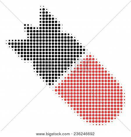 Aviation Bomb Halftone Vector Icon. Illustration Style Is Dotted Iconic Aviation Bomb Icon Symbol On
