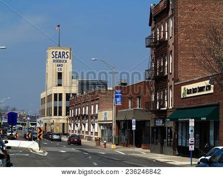 Hackensack, New Jersey - April14: Vintage Sears Roebuck Department Store In A Small Town Setting On