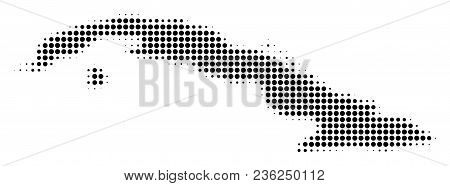 Cuba Map Halftone Vector Icon. Illustration Style Is Dotted Iconic Cuba Map Icon Symbol On A White B