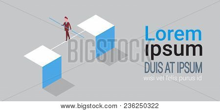 Business Man Balancing On Rope Money Risk Concept Isometric Vector Illustration