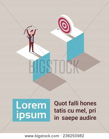 Business Man Hit Arrow In Target Success Strategy Isometric Vector Illustration
