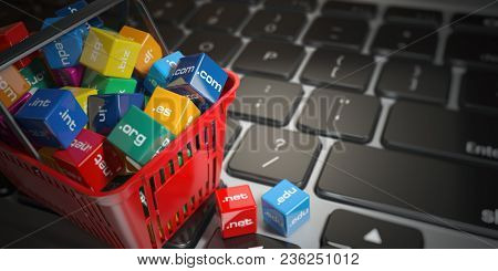 Shopping basket with domain nameson computer keyboard. Internet communication and e-business concept. 3d illustration