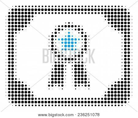 Diploma Halftone Vector Pictogram. Illustration Style Is Dotted Iconic Diploma Icon Symbol On A Whit