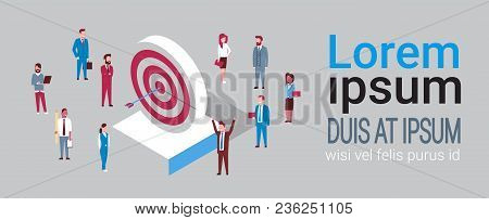 Successful Team Of Business People Hit Arrow In Target Success Strategy Isometric Vector Illustratio