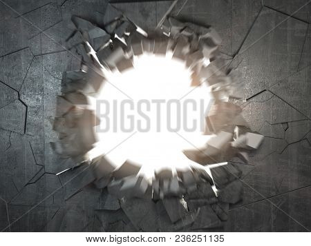 Cracked broken concrete wall with explosion hole and debris. Abstract grunge background. 3d illustration poster