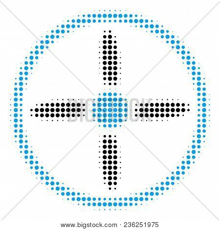 Drone Screw Halftone Vector Icon. Illustration Style Is Dotted Iconic Drone Screw Icon Symbol On A W