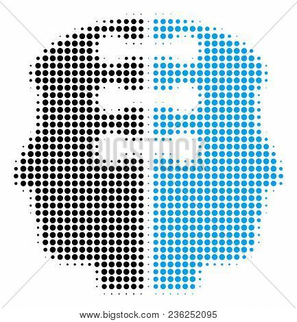Dual Head Interface Halftone Vector Icon. Illustration Style Is Dotted Iconic Dual Head Interface Ic