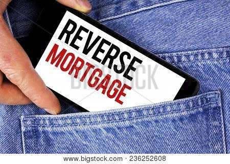 Text Sign Showing Reverse Mortgage. Conceptual Photo Elderly Homeowner Retirement Option Regular Pay