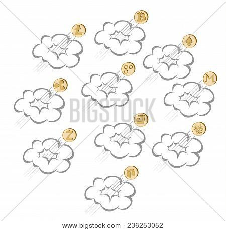 Crypto Currency Coin Rises Through The Cloud On A White Background , Set , Color Design Concept, Fli