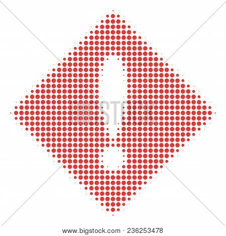 Error Halftone Vector Pictogram. Illustration Style Is Dotted Iconic Error Icon Symbol On A White Ba