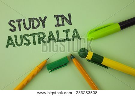 Handwriting Text Writing Study In Australia. Concept Meaning Graduate From Oversea Universities Grea